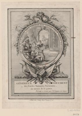 Généreux dévouement des Gardes <em>nationales</em> parisiennes, au service de <em>la</em> patrie [estampe]
