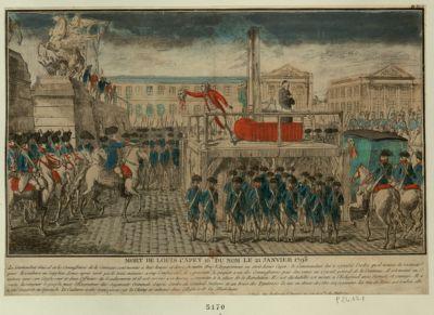 Mort de Louis Capet 16.e du nom le 21 janvier 1793 le commandant général et les commissaires de la Commune sont montés à huit heures et demie du matin dans l'appartement ou étoit Louis Capet... : [estampe]