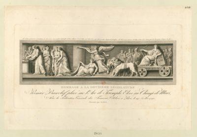 Hommage a la deuxième législature premier basrelief placé sur l'Arc de Triomphe elevé au Champ de Mars, pour la Fédération générale des Français, célébrée à Paris le 14 juillet 1790 : [estampe]