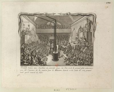 Grande seance aux Jacobins en janvier 1792 ou l'on voit le grand effet interieure que fit l'anonce de la guerre par le ministre Linote a la suite de son grand tour qu'il venait de faire : [estampe]
