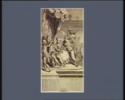 [Les  Aristocrates appliquant un bandeau sur les yeux de <em>Louis</em> seize et la duchesse de Polignac mettant la main sur ceux de la Reine] [estampe]