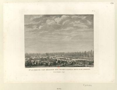 Mr La Fayette fait désarmer aux Champs Elisées deux cent soldats le 12 janvier 1789 [i.e. 1790] : [estampe]