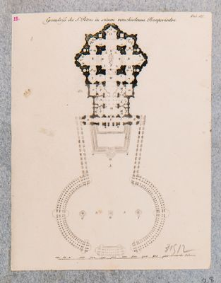 Grundriss des S. Peters in seinen verschiedenen Bauperioden