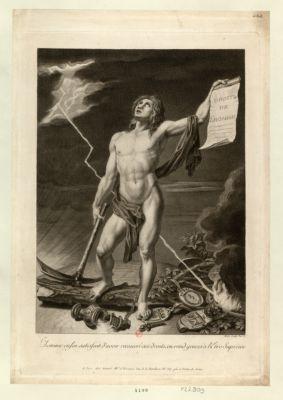L' Homme enfin satisfait d'avoir recouvré ses droits, en rend graces à l'Etre suprème [estampe]