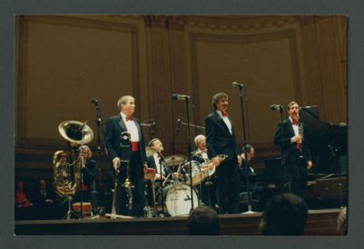 Turk Murphy Jazz Band on Stage at Carnegie Hall: Bill Carroll, Turk Murphy, Wayne Jones, Bill Armstrong, Bob Schulz, Jim Maihack, Ron Deeter