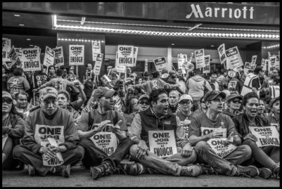 After a week on strike against Marriott Hotels, hotel workers are arrested for a sit-in