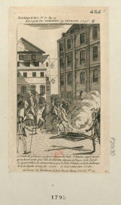 Epoque du vendredi 19 février 1790 le vendredi 19 février quelques citoyens du faub. St Antoine s'appercurent qu'on faisoit sortir de la ville des charettes chargées de piques et de barils ; les ayant arrêtées les emmenèrent jusqu'à la Porte St Antoine ou ils les brûlerent. M. de La Fayette arriva et tout rentra dans l'ordre : [estampe]