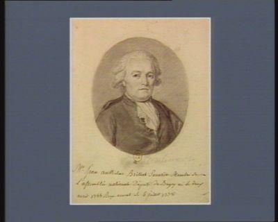 M.r Jean Anthelme Brillat Savarin Membre de L'assemblée nationale Député du Bugey né Le deux avril 1755 Reçu avocat Le 6 juillet 1778 : [dessin]