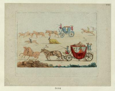 [Fuite des <em>émigrés</em>, representés en animaux, dans des carrosses] [estampe]