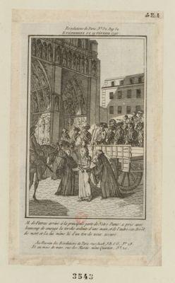 Événement du 19 février 1790 M. de Favras arrivé à la principale porte de Notre Dame, a pris avec beaucoup de courage la torche ardente d'une main, et de l'autre son arrêt de mort et l'a lui même lû d'un ton de voix assuré : [estampe]