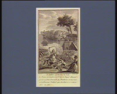 12 juillet à 7 heures du soir le prince de Lambesc, à la tête de Royal Almand, parait au Pont-Tournant des Thuilleries, et massacre un malheureux vieillard qui cherchait à se retirer avec un ami : [estampe]
