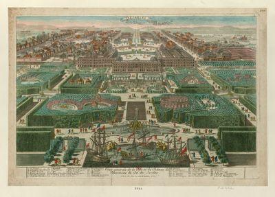 Veüe générale de la ville et du château de <em>Versailles</em> du côté des jardins [estampe]