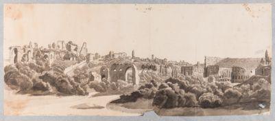 Palatino, veduta della via di San Gregorio con sfondo del Colosseo
