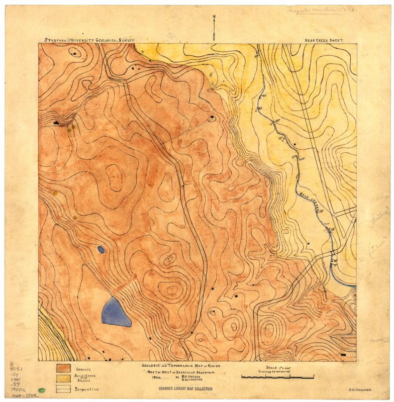Geologic and topographic map of region north west of Searsville Reservoir