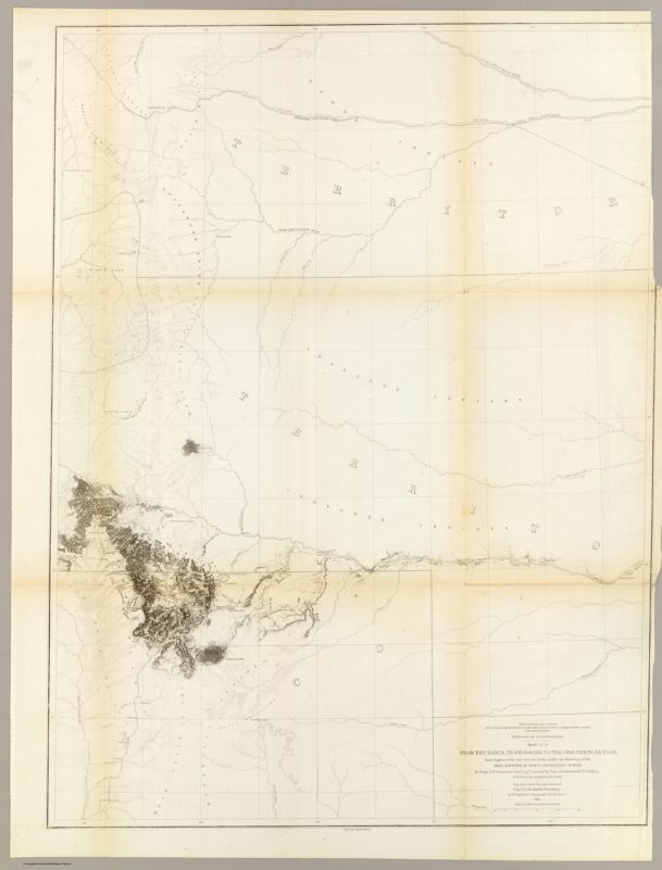 From the Santa Fe Crossing to the Coo-che-to-pa Pass; from Explorations and Surveys    made under the direction of the Hon. Jefferson Davis Secretary of War by Capt. J.W. Gunnison    Topl. Engrs. assisted by Capt. E.G. Beckwith 3d Artillery. R.H. Kern Topographer in the field    Map made under the supervision of Capt. E.G. Beckwith 3d Artillery by F.W. Egloffstein,    Topographer for the Route. 1855. Explorations and surveys for a railroad route from the    Mississippi River to the Pacific Ocean. War Department. Route near the 38th & 39th Parallels.    Map No. 3. Engr. by Selmar Siebert.