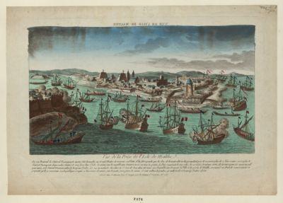 Vue de la prise de l'isle de Malthe vue de l'isle de Malthe : le 22 prairial le général Buonaparte ayant fait demander au Grand Maitre de recevoir sa flotte... : [estampe]