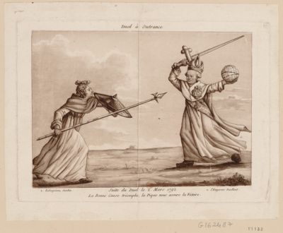 Duel à outrance suite du duel le 2 mars 1792. La bonne cause triomphe, la pique nous assure la victoire : [estampe]