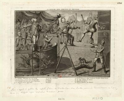 Le  Ministre Grave directeur du spectacle 1. Luckner dansant sur la corde 2. Rochambeau jouant des castagnettes. 3. La Fayette faisant des tours de force... : [estampe]