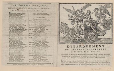 Debarquement du général Buonaparte a Fréjus, près Toulon [estampe]