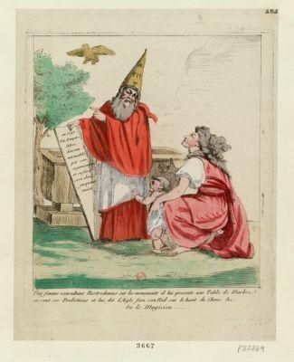 Une femme consultant Nostradamus sur les evenements il lui presente une table de marbre ou sont ses predictions et lui dit l'aigle fera son nid sur le haut du chene &c. ou le magicien [estampe]
