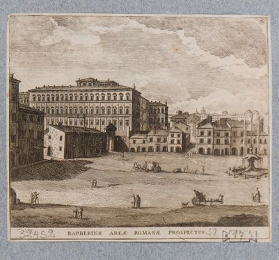 Palazzo Barberini, prospetto del lato verso la piazza Barberini