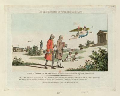 Aux grands hommes la patrie reconnoissante le Génie de Voltaire et de Rousseau conduisit ces écrivains célèbres au temple de la gloire & de l'immortalité... : [estampe]