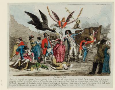 Fuite du Roi Louis XVI déguisé en cuisinier, s'avance precede de la Reine, qui elle meme s'appuye sur le comte Fersen... : [estampe]