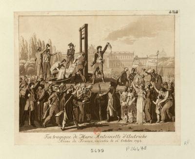 Fin tragique de Marie Antoinette d'Autriche reine de France, exécutée le 16 octobre <em>1793</em> : [estampe]