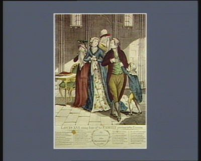 Louis XVI takeing leave of his family previous to his <em>execution</em> <em>the</em> lamentation of <em>the</em> French Queen in prison... : [estampe]