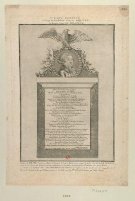 Ici a été présenté le corps de Honoré Gabriel Riquetti, ci-devant comte de Mirabeau issu de pere et mere nobles et opulens... : [estampe]