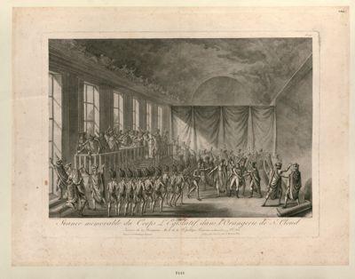 Séance mémorable du Corps législatif dans l'Orangerie de St Cloud journée du 19 brumaire an 8 de la République française (10 novembre 1799 vx. st.le) : [estampe]