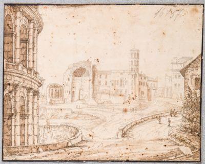 Tempio di Venere e Roma, visto dalle Terme di Tito con fuga del Colosseo