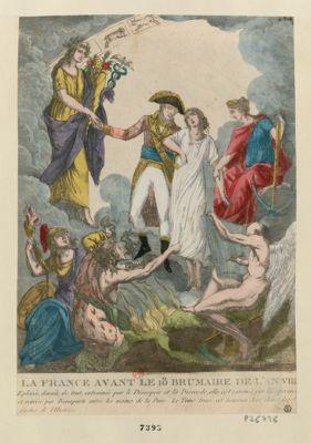 La  France avant le 18 brumaire de l'an VIII eplorée, denuée de tout, entrainée par le desespoir et la discorde, elle est ranimée par l'esperance et remise par Bonaparte entre les mains de la paix. Le tems trace cet heureux jour dans les fastes de l'histoire : [estampe]
