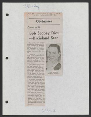 Bob Scobey obituary, SF Chronicle