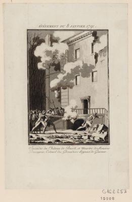 Evénement du 8 janvier 1791 incendie du Château de Buzet, et meurtre de Monsieur Descayrac, colonel des grenadiers royaux de Guienne : [estampe]