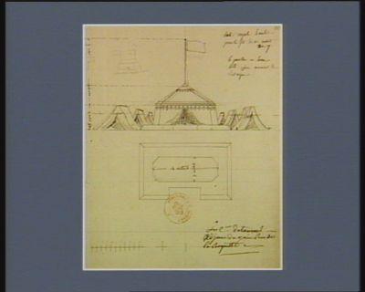 Tente royale simulée pour la fête du 10 août an 7 le pavillon sera hissé qu'au moment de l'attaque, le c.en Detournel (adjoint du ? rue de la Roquette) : [dessin]