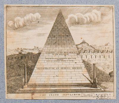 Piramide di Caio Cestio, veduta generale di prospetto dall'interno