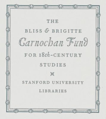 Bliss and Brigitte Carnochan Fund for 18th Century Studies