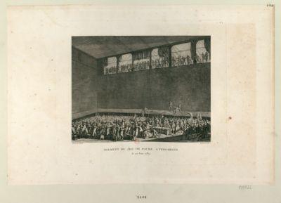 Serment du <em>Jeu</em> <em>de</em> <em>Paume</em>, à Versailles le <em>20</em> juin <em>1789</em> : [estampe]