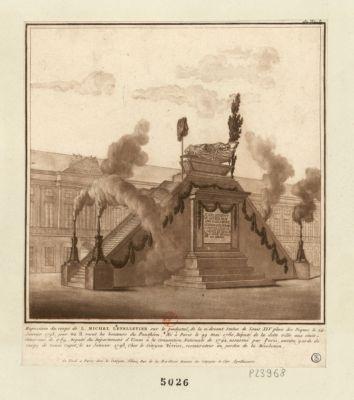 Exposition du corps <em>de</em> L. Michel Lepelletier sur <em>le</em> piédestal <em>de</em> la ci-devant statue <em>de</em> Louis XIV place des Piques [estampe]