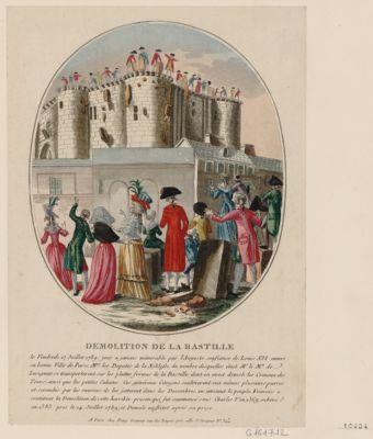 Demolition de la Bastille le vendredy 17 juillet 1789 ; jour a jamais mémorable par l'auguste confiance de Louis XVI envers sa bonne ville de Paris... : [estampe]