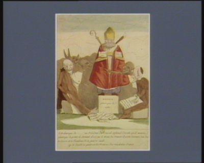 <em>L</em>' Archeveque de...... en président du conseil infernal décrete qu'il mourra plutot que de preter le serment, il est sur le trone du demon il porte derriere son dos la crosse et le flambeau de la guerre civile ou le diable a quatre et les motions des machoires d'anes : [estampe]