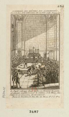 Assemblée des prêtres non assermentés aux Théatins le 2 juin 1791 le peuple s'attroupa devant l'eglise, se fit ouvrir les portes, vit plusieurs néophites recevoir la comunion, et la messe finie, l'autel et ses accessoires furent renversés : [estampe]