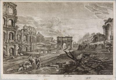 Arco di Costantino, veduto da est fra il tempio di Venere a destra e il Colosseo a sinistra