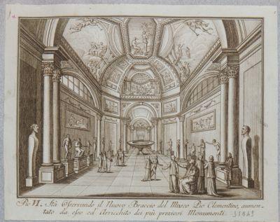 Museo Vaticano. Museo Pio Clementino, veduta del braccio nuovo e visita di Pio VI