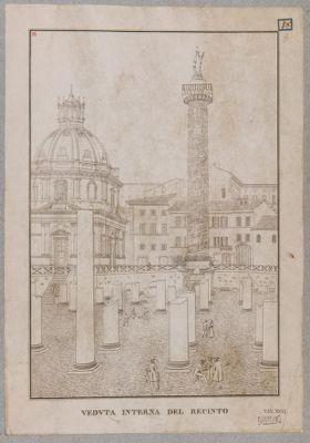 Foro Traiano, veduta generale presa da nord con sfondo della Colonna Traiana
