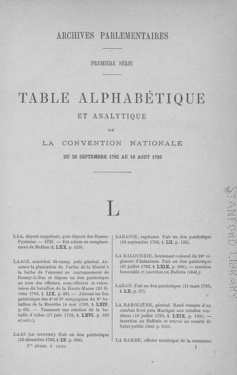Tome 71 : Table alphabétique et analytique des séances de la Convention nationale du 20 septembre 1792 au 10 août 1793 (2ème partie : de L à Z) - page 1