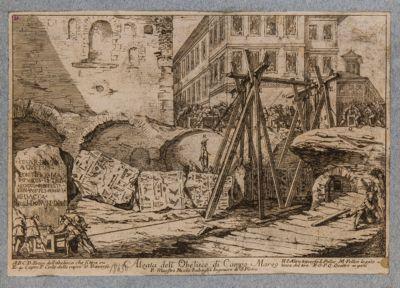 Obelisco di Campo Marzio, scavo e sollevamento