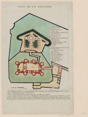 Plan de la Bastille la Bastille, dans le principe ne consistait que dans deux tours construites en 1369 sur les dessins de Hugues au Briot ; prevôt de <em>Paris</em> ; les deux tours fesoient l'entrée de <em>Paris</em>... : [estampe]