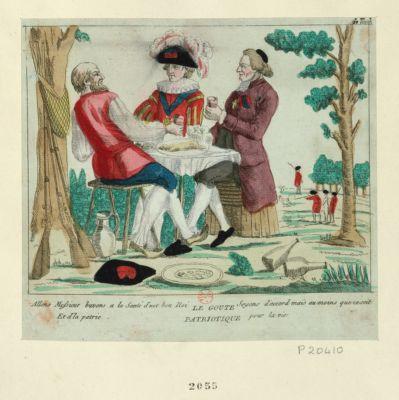 Le  Goute patriotique allons Messieurs buvons à la santé d'not bon Roi et d'la patrie, soyons d'accord mais au moins que ce soit pour la vie : [estampe]